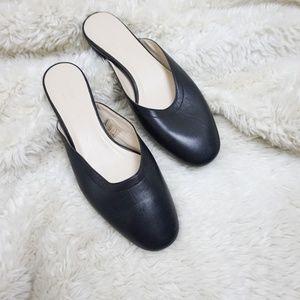 Everlane black Leather Ballet Day Mule Slides Size